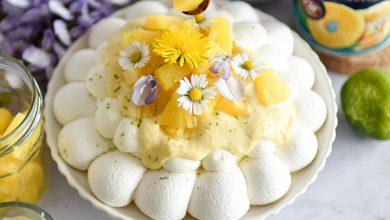Photo de Pavlova ananas et citron vert