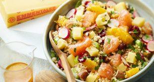 Salade de boulgour, suprêmes d'agrumes, dés de céleri, radis roses, dés d'Emmentaler® AOP Suisse