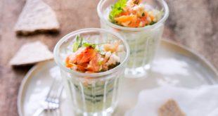 Verrine de concombre aux fruits de mer