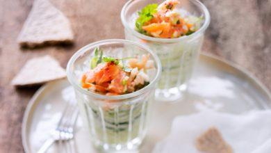 Photo de Verrine de concombre aux fruits de mer
