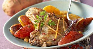 Côte de porc grillée aux pamplemousses caramélisés