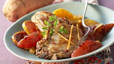 Photo de Côte de porc grillée aux pamplemousses caramélisés