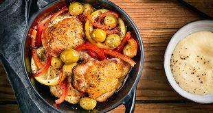 Cuisse de poulet rôti au citron et aux olives Manzanilla