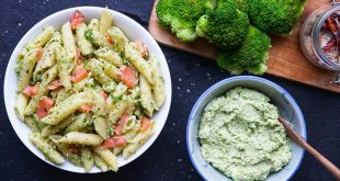 Penne au saumon et pesto de brocoli