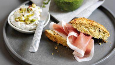 Photo de Scones à la pistache, mascarpone, pesto et Jambon de Parme