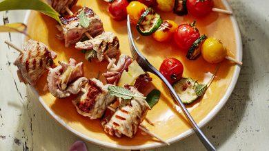 Photo de Brochettes de mini saltimbocca aux légumes grillés