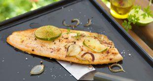 Filet de truite mariné au citron vert et gingembre, à la plancha