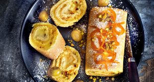 Gâteau roulé à l'orange et à la crème d'olives vertes Manzanilla