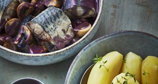 Maquereaux en meurette et pommes de terre vapeur