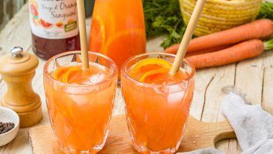 Photo de Mocktail orange sanguine, jus de carotte, poivre noir & gingembre