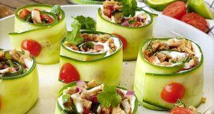 Rouleaux de concombre au thon
