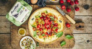 Tarte veggie aux tomates colorées et ricotta