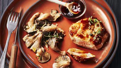 Photo de Pavés de veau sauce Teriyaki, pleurotes et endives braisées