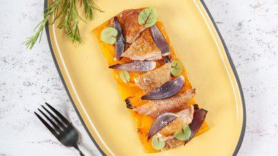 Photo de Épaule de chevreau rôtie à l'ail et butternut