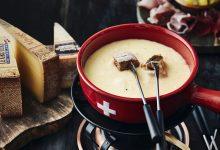 Photo de Fondue moitié-moitié avec le Gruyère AOP Suisse et Vacherin® Fribourgeois AOP