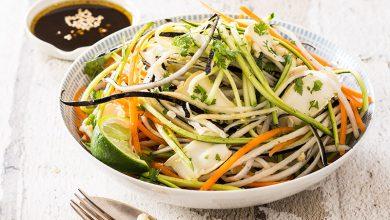 Photo de Salade de spaghetti de légumes, lamelles de Reblochon