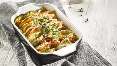 Photo de Tian de légumes, raclette à l'ail des ours Pochat & Fils