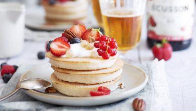 Photo de Pancakes fluffy et sirop de miel au cidre doux Écusson