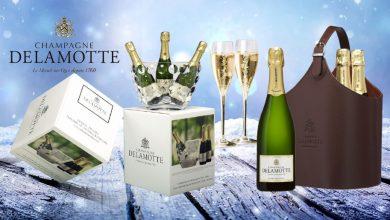 """Photo de Pour les fêtes de fin d'année 2020 Champagne Delamotte propose """"Deux Coffrets"""" tout en Blanc de Blancs"""