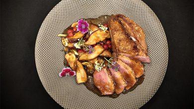 Photo de Magret de canard aux cèpes, oignons cébette et groseille