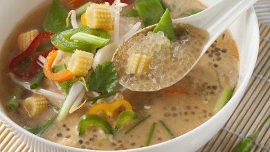 Photo de Soupe thaï de Perles Japon, légumes et lait de coco