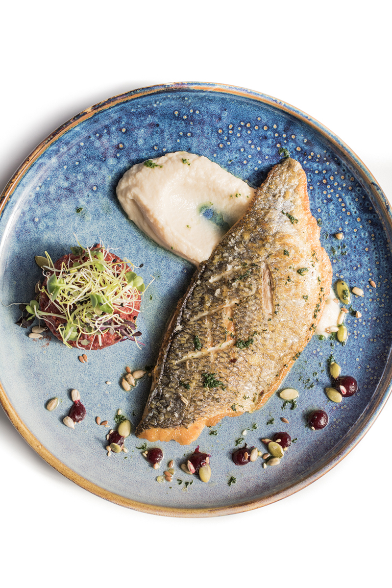 Dorade grillée, quinoa de betteraves purée de céleri