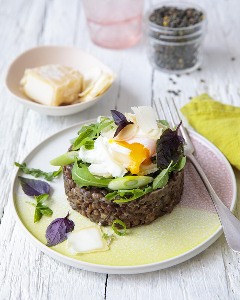 Risotto de lentilles vertes, parmesan, échalotes, coriandre œuf poché