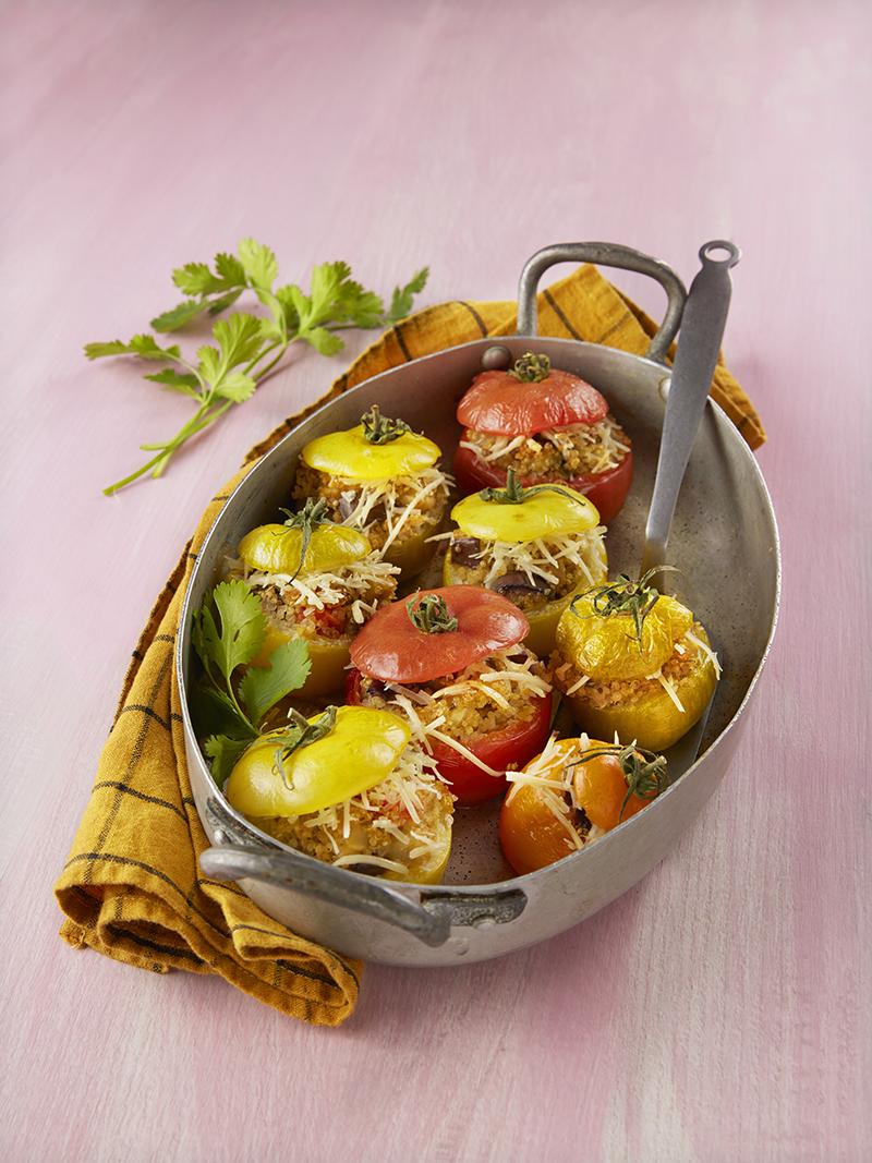 Tomates farcies veggies râpé végétal saveur Mozzarella Nurishh®