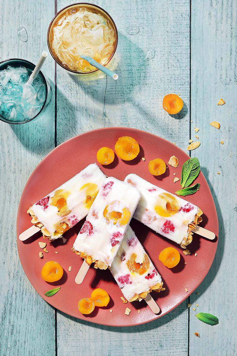 Yaourt glacé Mirabelles de Lorraine, framboises & amandes grillées