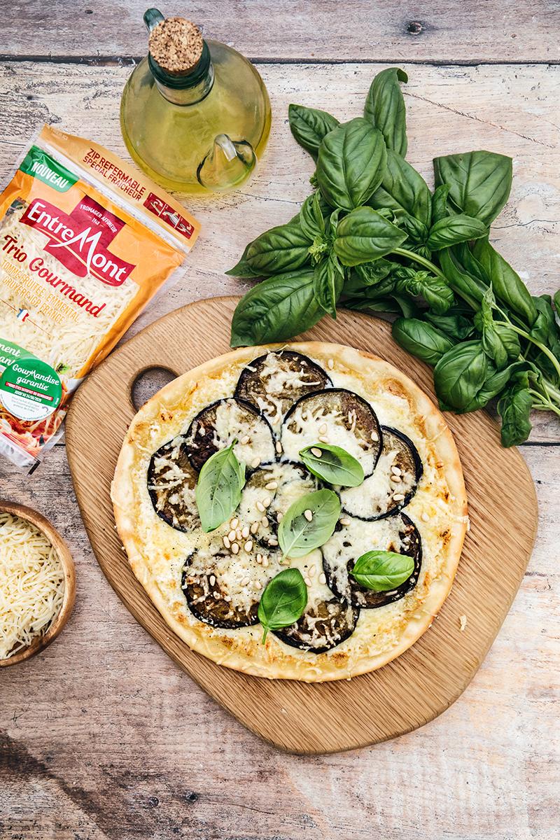 Pizzetta aubergines et Trio Gourmand Entremont