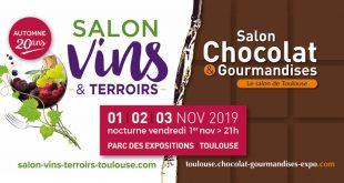 """""""Salon Vins & Terroirs"""" et """"Salon Chocolat & Gourmandises"""" du Du 1er au 3 novembre 2019"""