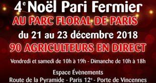 """4ème Noël """"Pari Fermier"""" au Parc Floral de Paris du 21 au 23 décembre 2018"""